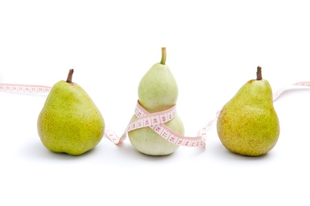 Use trigonella to represent womens curvy shape and pear to represent pear shaped body Stock Photo