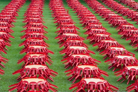 Rows of tables and chairs