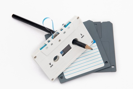 Audio cassette tape and computer floppy disks--- Old and obsolete technology Stock Photo