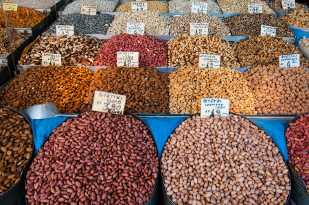 Stall selling various kinds of nuts in Istandbul Stock Photo