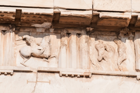 Carvings on the roof top of parthenon Stock Photo
