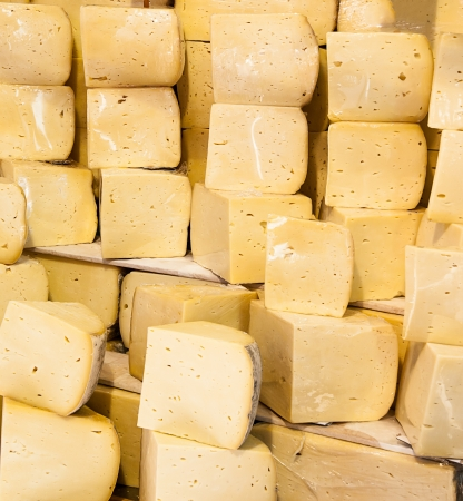 Stack of cheese at Istanbul market, Turkey Stock Photo