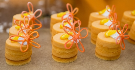 Nicely decorated desserts