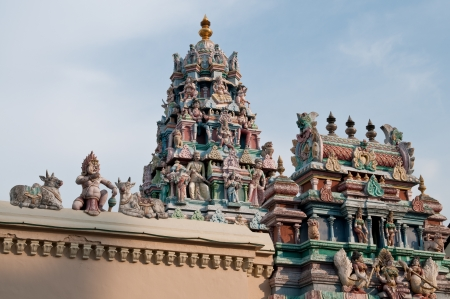 Roof top of a hindu temple in Georgetown, Penang, Malaysia
