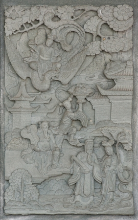 Carving on Chinese temple wall, in Georgetown, Penang, Malaysia Stock Photo