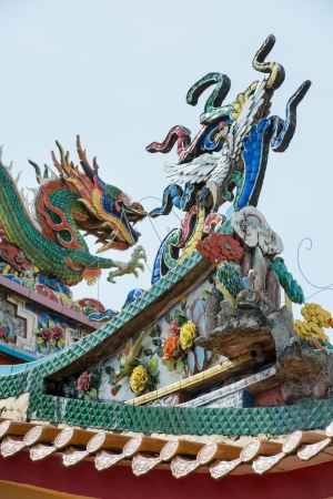 Roof top of Chinese temple with dragon carving