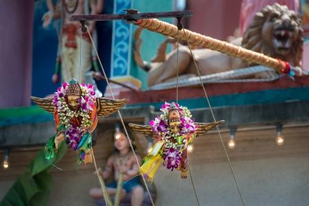 Hindu temple during Thaipusam festival photo