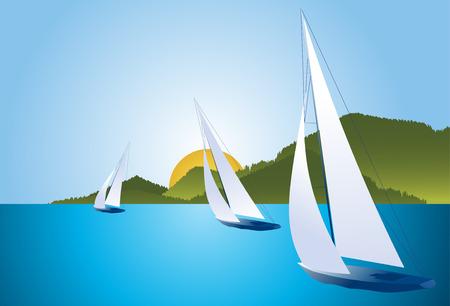 Regatta boats Vector
