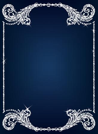 anniversary card: Vintage crystal frame Illustration