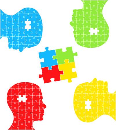 jigsaw piece: Puzzle head concept