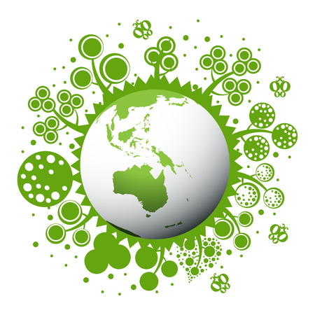 Green and clean earth  with trees Vector