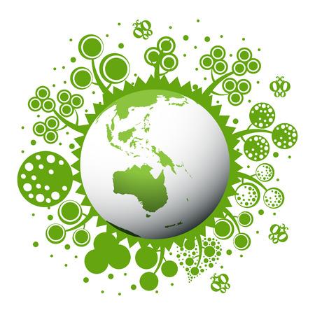 ecologic: Tierra verde y limpia con �rboles Vectores