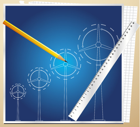 Wind energy blueprint Vector