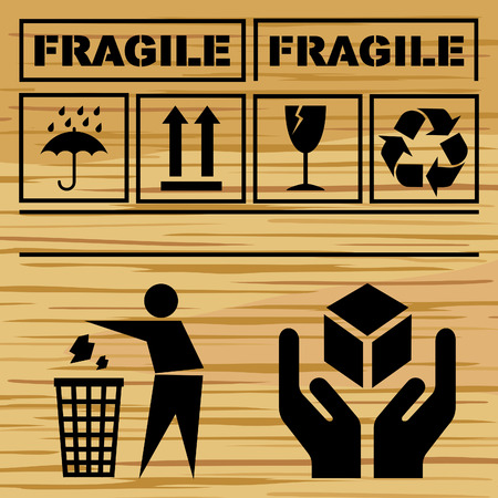 Box with safety fragile signs Vector