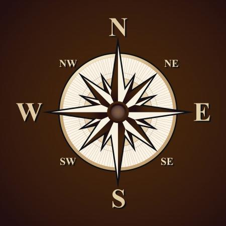compass rose: Vintage compass vector background Illustration