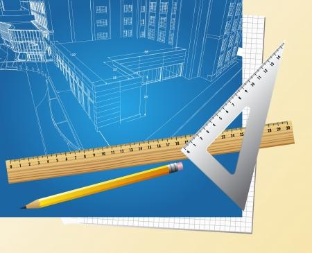 ingenieurs: Bouwkundig blauwdruk achtergrond vector Stock Illustratie