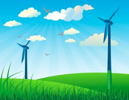 generadores: Wind generators on a grassy field vector