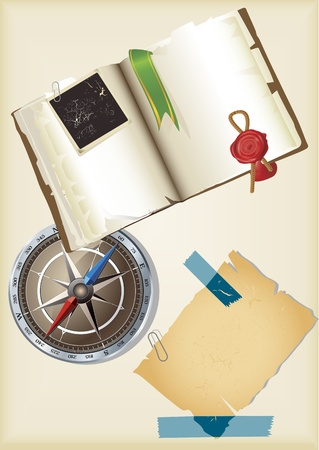 Ancient logbook, note paper and compass vector