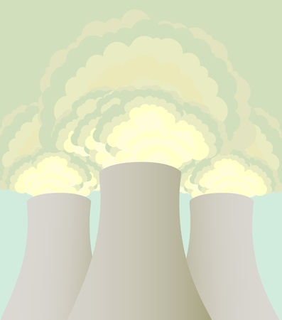Nuclear power station cooling towers vector background Vector