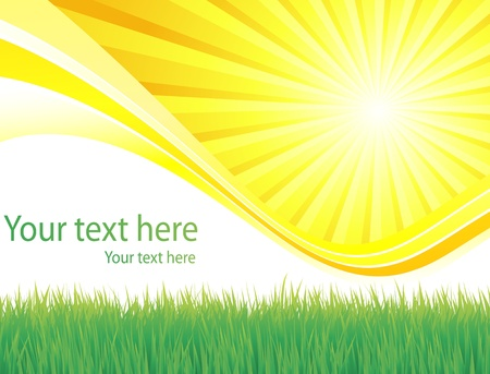 Sunburst vector background with grass and copy space Vector