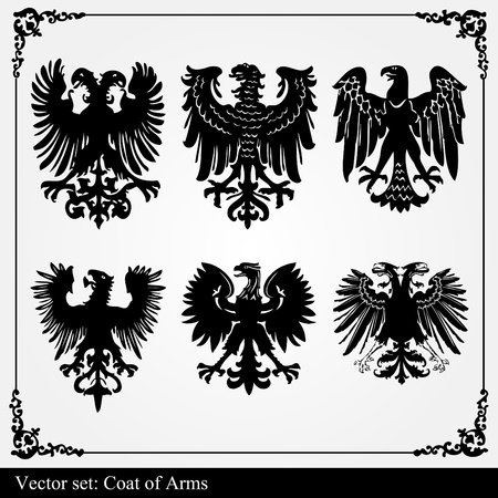 czar: Heraldic eagles set vector background