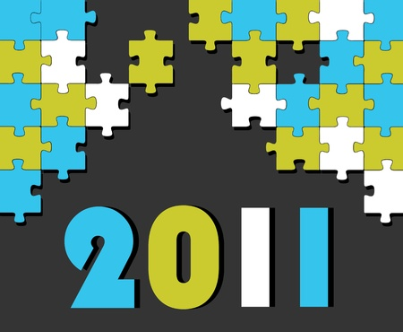 New year puzzle background Vector
