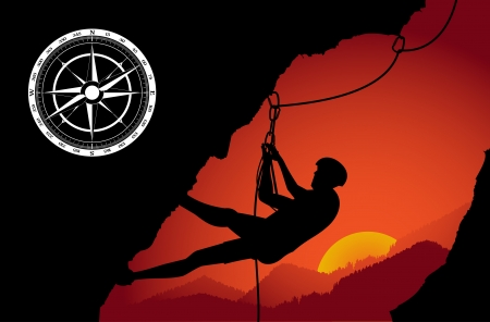 rappelling: Rock mountain climbing background