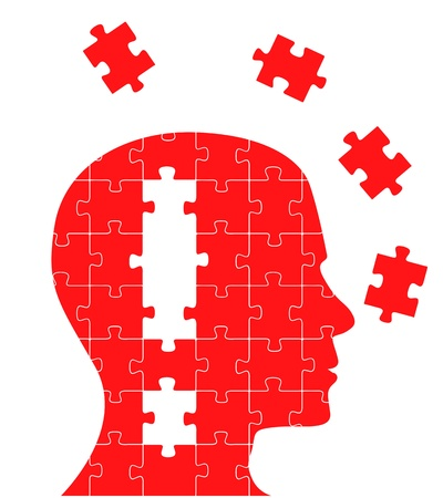 expertise: Missing piece puzzle head vector Illustration