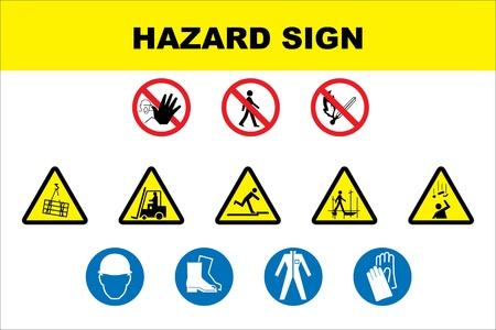 elementos de protecci�n personal: Signos de peligro de construcci�n Vectores