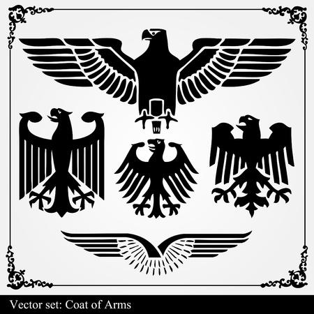 Heraldic eagles set vector background Vector