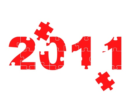 Image of the number 2011 in puzzle Vector
