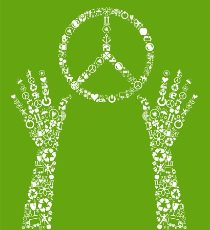 peace concept: Peace concept made of eco icons vector