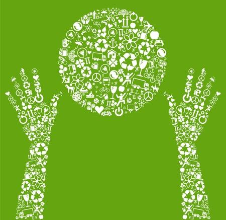 icono ecologico: Mundo hizo eco del vector de los iconos de eco