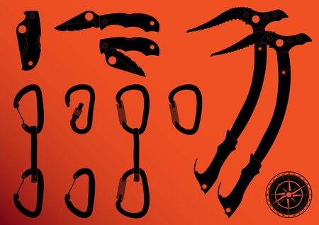 mountain climber: Mountain climber equipment vector Illustration