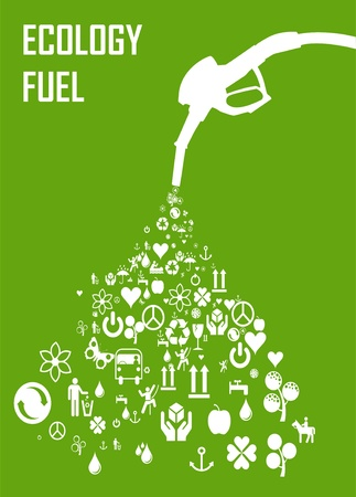 environmental conservation: Green gas pump nozzle made of eco icons