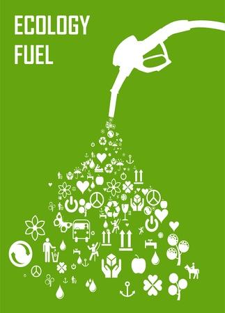 Groen gas pomp mondstuk gemaakt van eco-pictogrammen Vector Illustratie