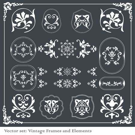 Vintage vector elements for borders, frames Vector