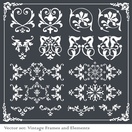 Vintage vector elements for borders, frames Vector