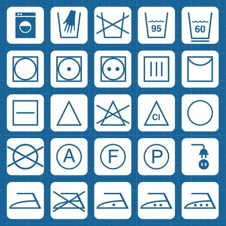 textile care: Conjunto de iconos del vector de s�mbolos de lavado