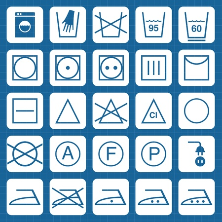 laundry care symbol: Icon Set of washing symbols vector