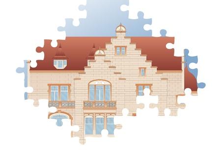 cube puzzle: Puzzle vector vintage house