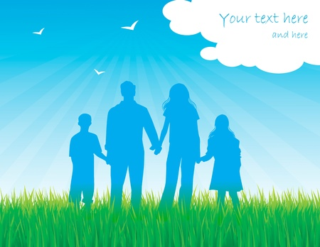 happy family outdoor: Family - parents and children vector