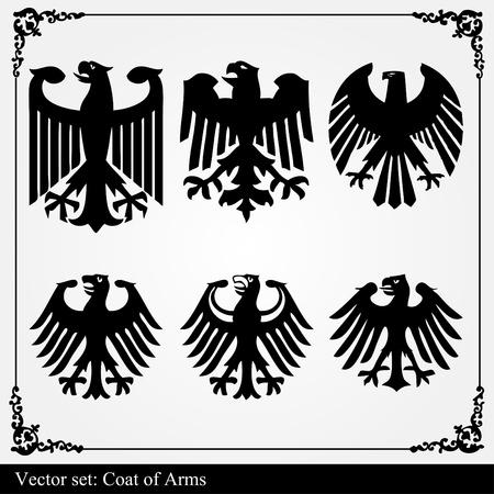 mythological: Heraldic eagle vector set
