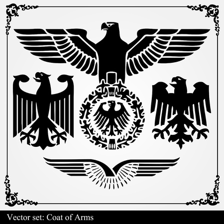 beast creature: Heraldic eagle vector set