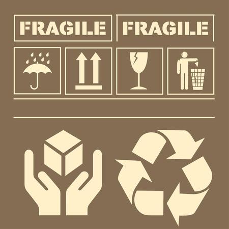 fragile: Safety fragile signs vector Illustration