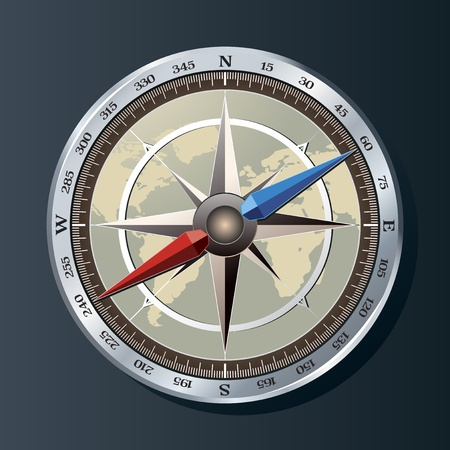 Glossy Compass with windrose vector Stock Vector - 10044194