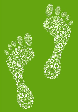 ecological: Green footprints made of ecology icons