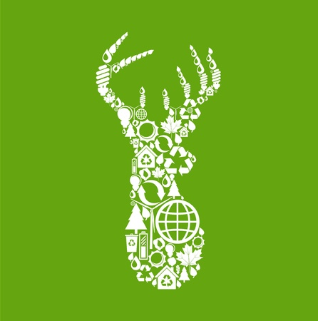 Deer made from eco icons Stock Vector - 10048553