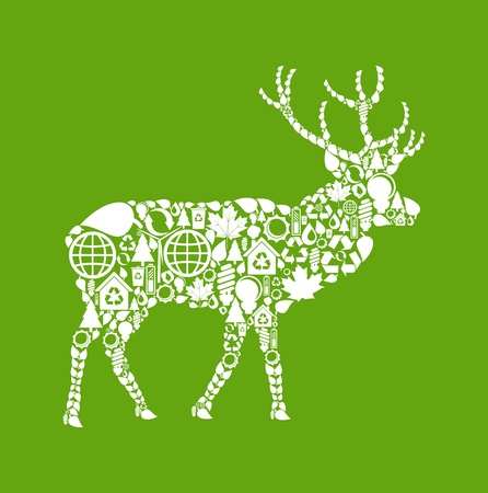 Deer made from eco icons Vector