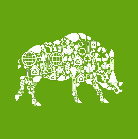 Wild boar made from eco icons Vector
